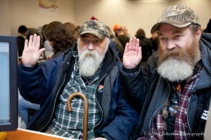 Larry Duncan, 56, and Randy Shepherd, 48, from North Bend Washington, get their marriage license on the first day it was legal for same-sex couples to do so in Washington State, 12/6/12. Photo Credit: Meryl Schenker Photography. Via.