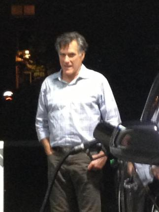 Mitt Romney at a gas station in La Jolla, CA. Via