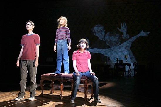Beth Malone, Sydney Lucas, and Alexandra Socha in Fun Home. Photo Credit: Joan Marcus.