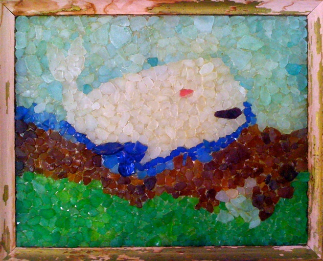 """Moby Dick (beach glass on glass) by the Madwoman's Father, Welman """"Lindy"""" Lindemann."""
